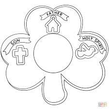 Holy Trinity Shamrock Coloring Page Printable Sketch