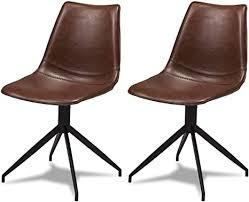 ibbe design 2er set braun kunstleder esszimmerstühle vintage