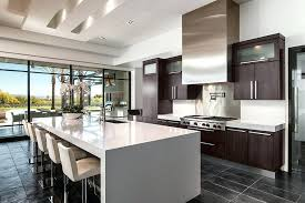 Kitchens With Espresso Cabinets Kitchen Contemporary Black Tile