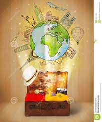 Luggage With Travel Around The World Illustration Concept Stock