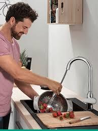 hansgrohe küchenarmatur vorfenstermontage wasserhahn küche 360 schwenkbar umlegbar hoher komfort auslauf 120mm standardanschlüsse chrom