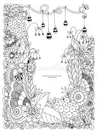 Download Vector Illustration Of Floral Frame Zen Tangle Dudlart Coloring Book Anti Stress For