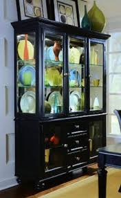 Camden Black Buffet Credenza With China Cabinet