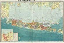Map Prepared By The Japanese During World War II Depicting Java Most Populous Island In Dutch East Indies