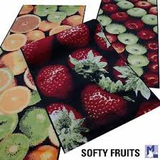 details zu bar küchen teppich läufer softy fruits orangen erdbeeren o äpfel in 2 größen