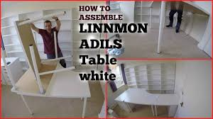 Linnmon Corner Desk Measurements by Ikea Adils Linnmon Table Assembly Youtube