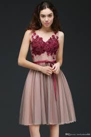 burgundy knee length short homecoming dresses 2017 cheap v neck
