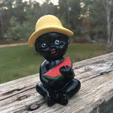 Daher Decorated Ware Tray 1971 by Vintage Black Boy Eating Watermelon Bell Figurine Black Americana
