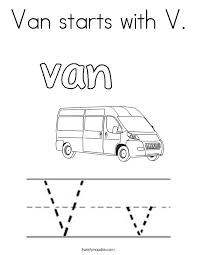 Van Starts With V Coloring Page