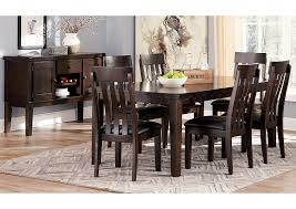 Haddigan Dark Brown Rectangle Dining Room Extension Table W 6 Upholstered Side Chairs Server