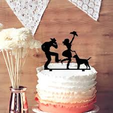 Dancing Cowgirl And Cowboy With Pet Dog Silhouette Rustic Wedding Cake Topper Anniversary