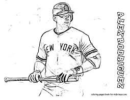 Coloring Page Of Baseball Player Alex Rodriguez At YesColoring
