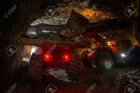 100 Truck Loading Games With Golden Ore Underground Russia Stock Photo