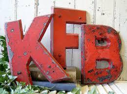 vintage industrial metal letters letter D sign letter other