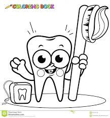 Teeth Coloring Pages For Kindergarten Tooth Preschoolers Page Cartoon Holding Toothbrush Dental Floss Preschool