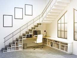 meuble bibliotheque bureau integre 14 bibliothèques aménagées sous l escalier consobrico