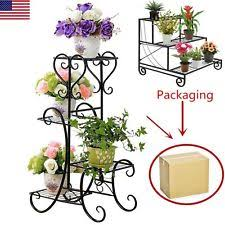 Metal Flower Pot Rack Plant Display Stand Shelf Holder Garden Decor Wrought Iron