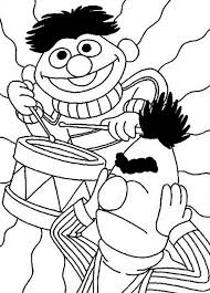 Ernie Playing Drum In Sesame Street Coloring Page