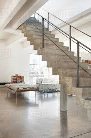 100 Loft Style Home Concrete Staircase To Second Level In Loft Style Home Stock Photo