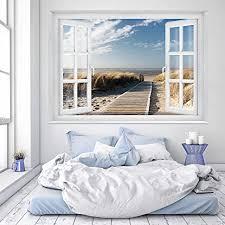 murimage fototapete strand fenster 183 x 127 cm inklusive kleister fenster ausblick meer strand dünen ozean way tapete