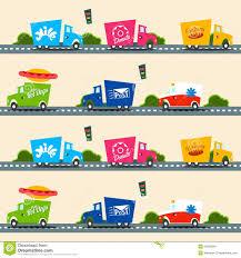 Urban Cargo Trucks Vector Seamless Pattern In Simple Kids Style ...