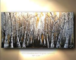 Original Painting Rustic Wall Decor Brown Gold Tan White Birch Aspen Tree Landscape Abstract Canvas Panel
