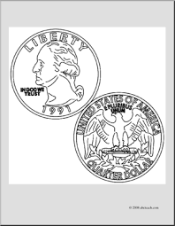 Clip Art Quarter Coloring Page I Abcteach