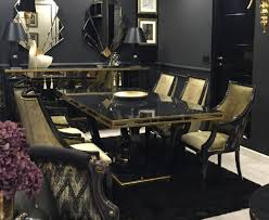 casa padrino luxus barock esszimmer set gold schwarz 1 esstisch 6 esszimmerstühle edle esszimmer möbel im barockstil luxus qualität