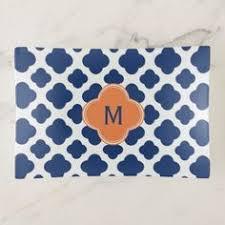 elegant blue and white quatre foil bath towel set home gifts
