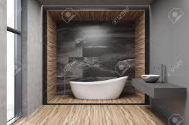 grau marmor und holz badezimmer interieur mit einer weißen badewanne einem waschbecken auf einem steinregal und einem großen fenster 3d rendering