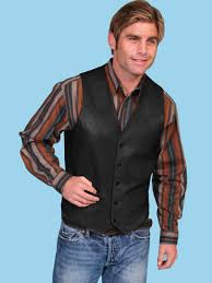 scully men u0027s black lambskin button front western vest