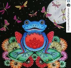 Frog Enchanted Forest Sapo Floresta Encantada Johanna Basford Adult ColoringColoring BooksColoring