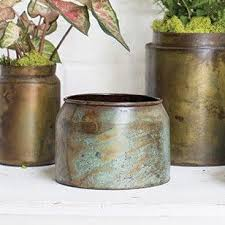 Lush Metal Floral Pot In Mottled Green And Brown
