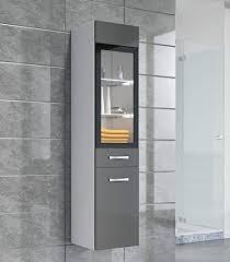 badplaats bv badezimmer schrank 131 cm hochglanz grau fronten regal schrank hochschrank schrank möbel