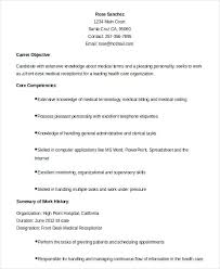 Example Of Receptionist Resumes Job Description On Resume Samples Dental