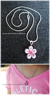 How To Make Polymer Clay Flower Necklace DIY Step By Tutorial Instruction