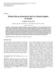 journal waste oils as alternative fuel for diesel engine a review