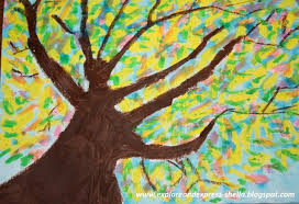 Art Project Spring Trees Oil Pastel Watercolor Resist