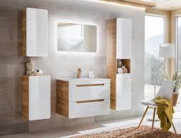 badmöbel set 5 tlg badezimmerset fermo weiss hgl inkl waschtisch 60cm