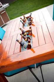 diy wood patio table w built in beer wine cooler would also be