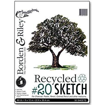 Borden & Riley - #20 Recycled Sketch Paper Pad - 5.5 inch x 8.5 inch - 50 Shts./Pad