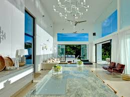 Modern White Steel Glass Living Room In The Caribbean