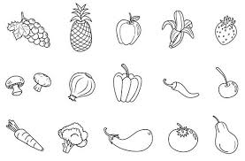 Interesting Fruits And Veggies Coloring Pages Page With Printable Of