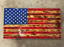 39 X 21 Large Wooden American Flag Distressed Torn Hand Crafted Rustic Burnt