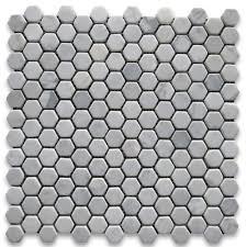 carrara white 1 inch hexagon mosaic tile tumbled marble from