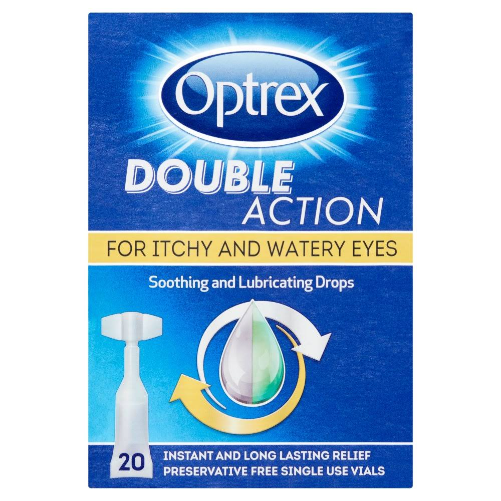 Optrex Double Action Soothing and Lubricating Drops Vials - 0.5ml, 20pk