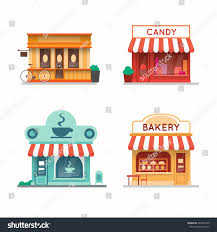 Set of shops and stores building facades Candy store coffee shop bakery