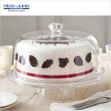 Unbreakable Clear Acrylic Cake Stand with Dome Cover