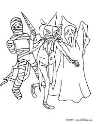 Group Of Creepy Monsters Scary Halloween Coloring Page