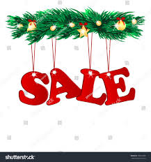 Word Sale Decorated With Christmas Tree Branchesseasonal Branches Of A